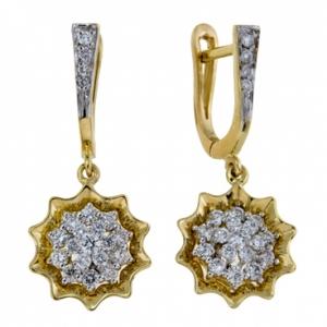 Серьги Цветы из желтого золота c бриллиантами