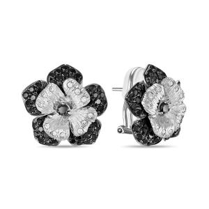Серьги Цветы из белого золота c черными бриллиантами