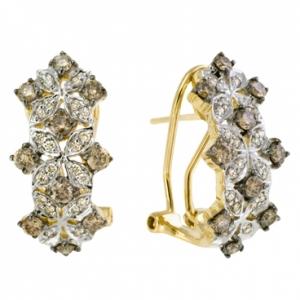 Серьги из желтого золота c бриллиантами