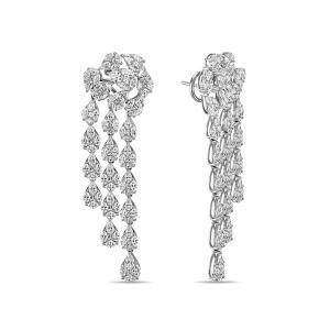 Серьги из белого золота c бриллиантами Эксклюзив