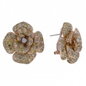 Золотые серьги Цветы c бриллиантами Эксклюзив