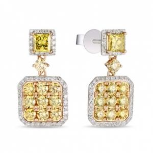 Серьги из белого золота c желтыми бриллиантами Брызги шампанского