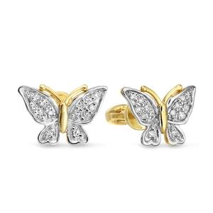 Золотые серьги-гвоздики «Мотыльки» c бриллиантами