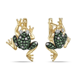 Серьги Лягушки из желтого золота c бриллиантами и гранатами