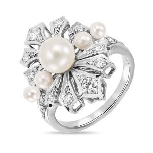 Кольцо из белого золота c бриллиантами и белым жемчугом Драгоценное наследие