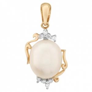 Золотая подвеска c бриллиантами и белым жемчугом Секрет русалки