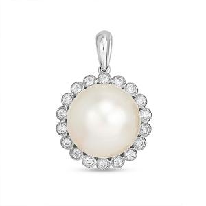 Подвеска из белого золота c бриллиантами и белым жемчугом Эксклюзив