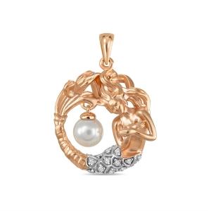 Золотая подвеска Русалка c бриллиантами и белым жемчугом