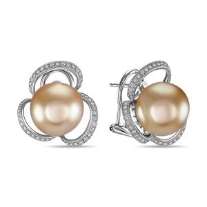 Золотые серьги c бриллиантами и бежевым жемчугом