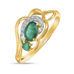 Золотое кольцо c бриллиантами и изумрудами