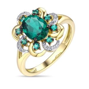 Кольцо Цветок из желтого золота c бриллиантами и изумрудами