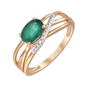 Золотое кольцо c бриллиантами и изумрудом