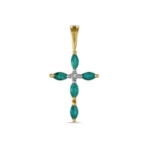 Крестик из желтого золота c бриллиантом и изумрудами