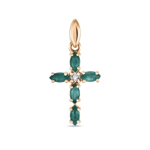 Золотой крестик c бриллиантом и изумрудами