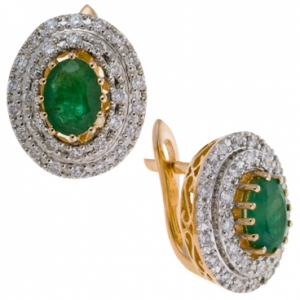 Золотые серьги c бриллиантами и изумрудами