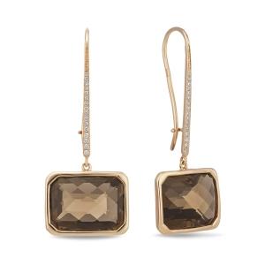 Золотые серьги c бриллиантами и кварцем