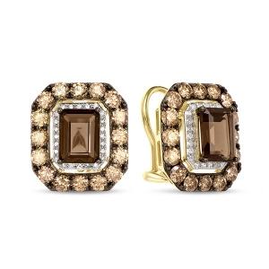 Серьги из желтого золота c бриллиантами и кварцем Эксклюзив