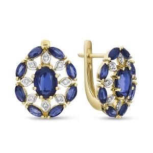 Золотые серьги c бриллиантами и кианитами