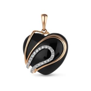 Золотая подвеска Сердце c бриллиантами и ониксом