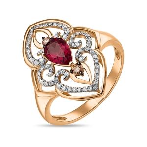 Золотое кольцо c бриллиантами и родолитом
