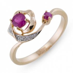 Золотое кольцо Роза c бриллиантами и рубинами