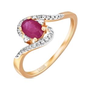 Золотое кольцо c бриллиантами и рубином