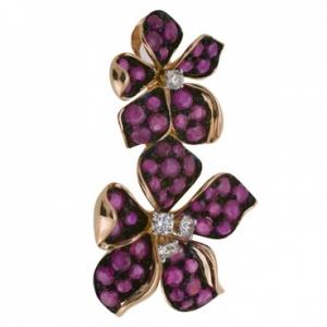 Золотая подвеска Цветы c бриллиантами и рубинами