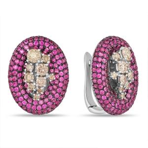 Серьги из белого золота c бриллиантами и рубинами Эксклюзив