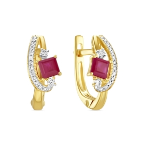 Серьги из желтого золота c бриллиантами и рубинами