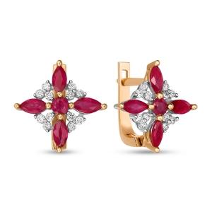 Золотые серьги c бриллиантами и рубинами