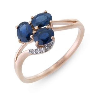 Золотое кольцо c бриллиантами и сапфирами