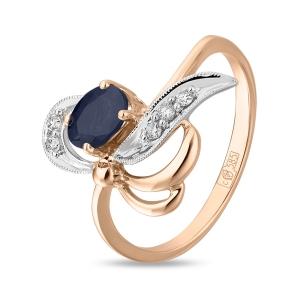 Золотое кольцо c бриллиантами и сапфиром