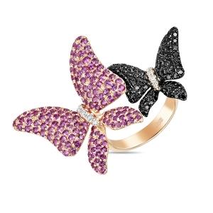 Золотое кольцо Бабочки c розовыми сапфирами и черными бриллиантами