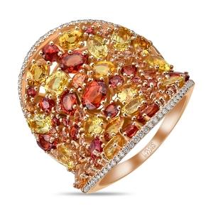 Золотое кольцо с цветными сапфирами