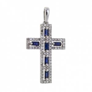 Золотой крестик c бриллиантами и сапфирами
