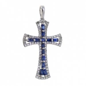 Крестик из белого золота c бриллиантами и сапфирами