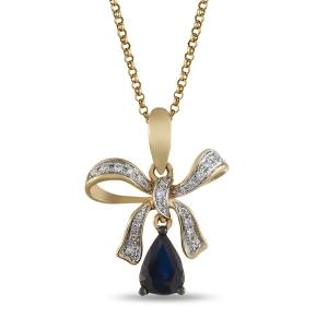 Золотая подвеска Бантик c бриллиантами и сапфиром