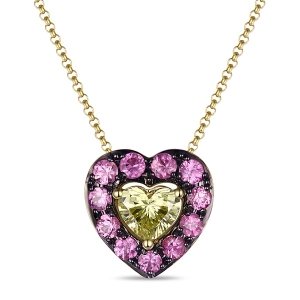 Подвеска Сердце из желтого золота c бриллиантом и сапфирами