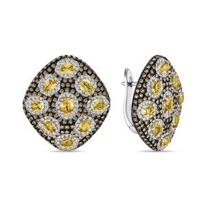 Серьги из белого золота c бриллиантами и сапфирами Эксклюзив