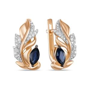 Золотые серьги в виде перьев c бриллиантами и сапфирами