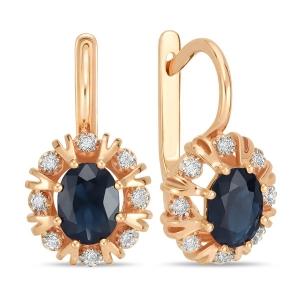 Золотые серьги Цветы c бриллиантами и сапфирами