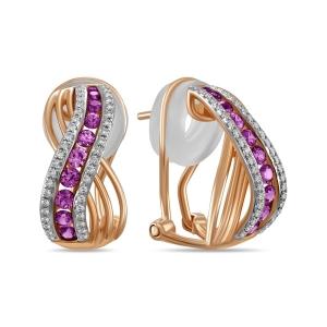 Золотые серьги c бриллиантами и сапфирами
