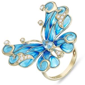 Кольцо «Бабочка» из желтого золота c топазом, бриллиантами и эмалью