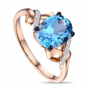 Золотое кольцо c топазом и бриллиантами Отражение небес