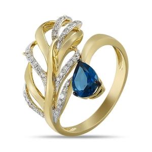Золотое кольцо в виде пера c топазом и бриллиантами