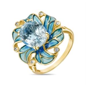 Кольцо Цветок из желтого золота c топазом, бриллиантами и эмалью