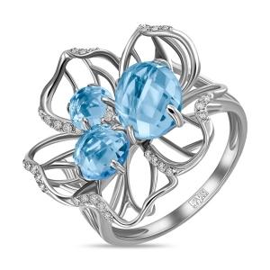 Кольцо Цветок из белого золота c топазами и бриллиантами