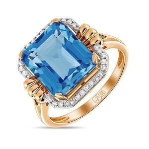 Золотое кольцо c топазом и бриллиантами