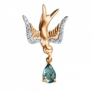 Золотая подвеска в виде птицы c топазом и бриллиантами