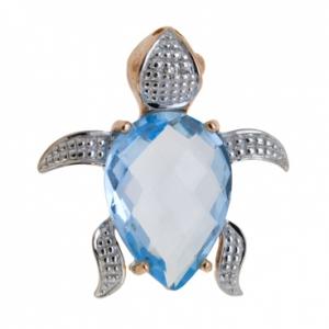 Золотая подвеска «Черепаха» c топазом и бриллиантом